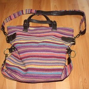 Handbags - Multicolor Striped Canvas Tote Shoulder Bag
